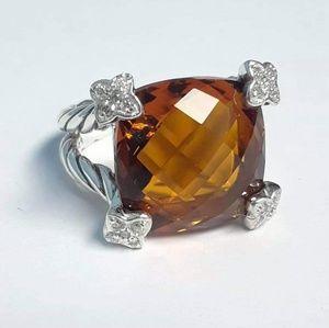 David Yurman Jewelry - David yurman sterling silver 20mm citrine diamonds